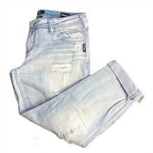 Size 31 x 25 Silver Boyfriend Jeans